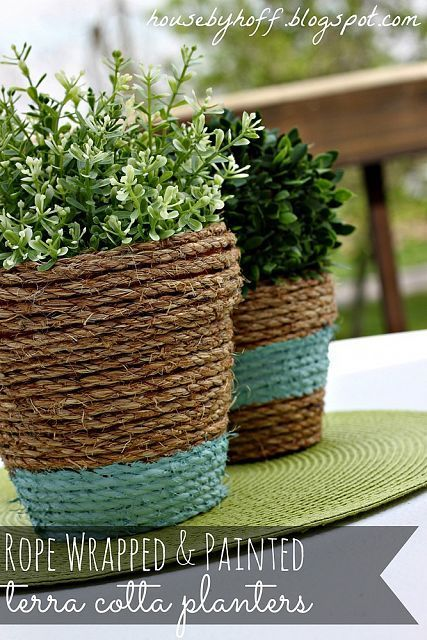 Decorating with Rope – 5 DIY Projects!...such a simple craft project Easy way to cover plastic pots plants came in:)