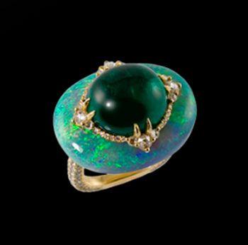 Bogh - Art Opal Emerald Diamond Ring