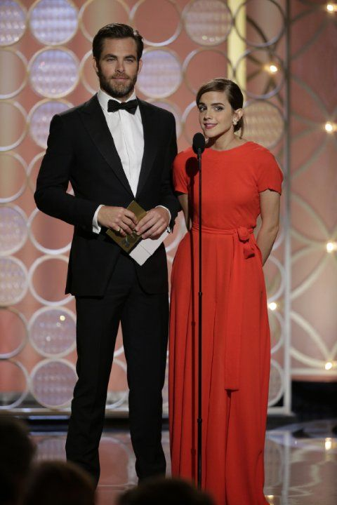 Emma Watson and Chris Pine at event of 71st Golden Globe Awards (2014)
