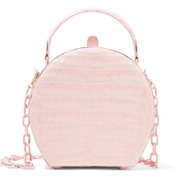 Nancy Gonzalez Crocodile shoulder bag (£1,690) ❤ liked on Polyvore featuring bags, handbags, shoulder bags, pastel pink, chain strap purse, crocodile purse, crocodile handbags, pink shoulder bag and croc handbags
