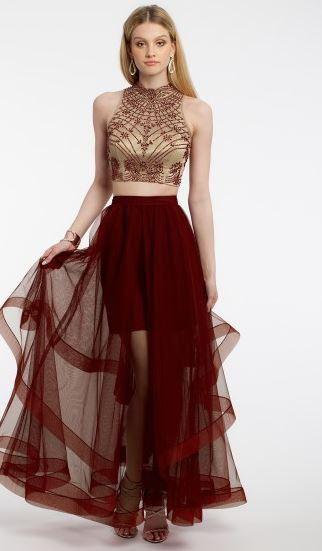 Two Piece Layered Ball Skirt Dress
