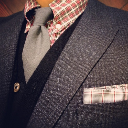 Band of Outsiders shirt - Thom Browne tie- Barneys New York cardigan- Paul  Smith