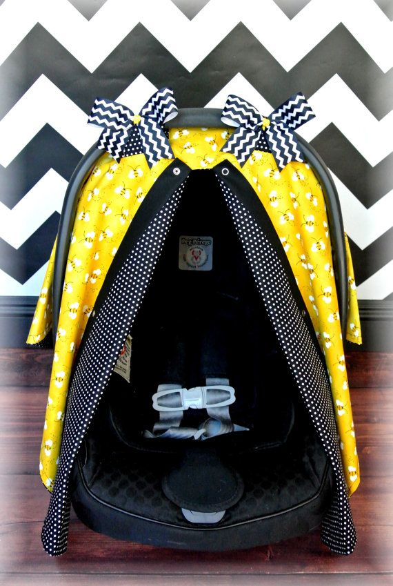 BUMBLE BEE car seat canopy car seat cover black by JaydenandOlivia, $37.99
