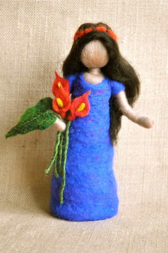 Waldorf+inspired+needle+felted+doll:+Girl+with+red+by+MagicWool
