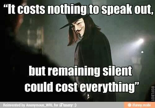 Do not stay silent... for it will cost you your soul.