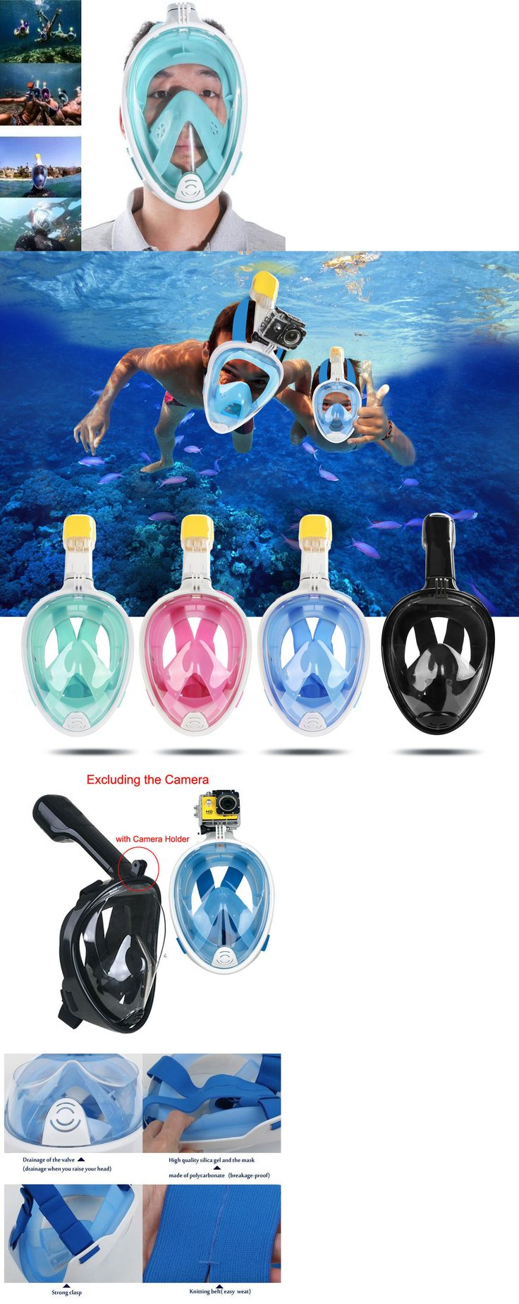 Masks 71161: Full Face Scuba Diving Mask Snorkel Swimming Goggles Breathing Underwater Tools -> BUY IT NOW ONLY: $36.99 on eBay! http://www.deepbluediving.org/best-dive-watches/