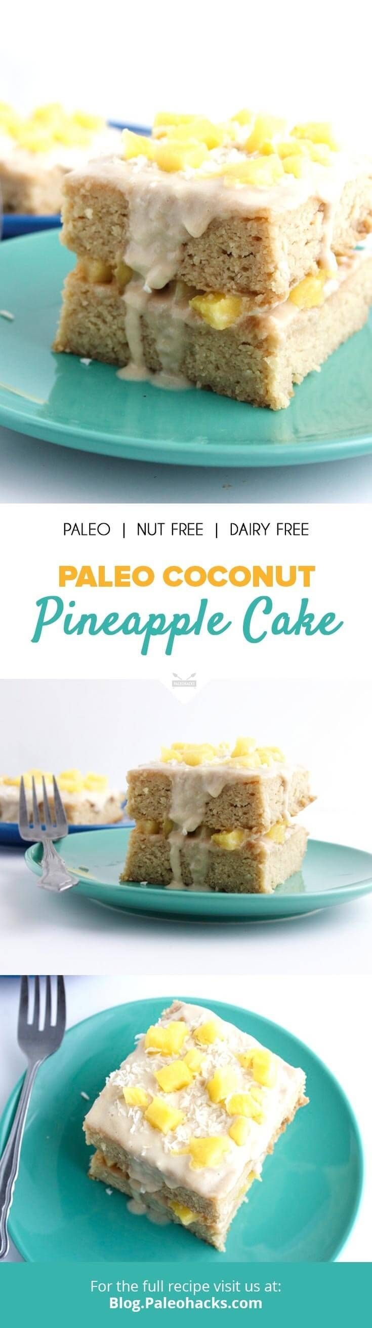 Made from coconut flour and topped with coconut icing and pineapple, this Paleo Coconut Pineapple Cake is moist, fruity and delicious! Get the full recipe here: http://paleo.co/cocopinecake