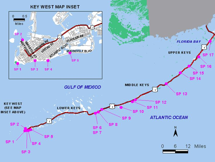 Florida Keys Map of Beaches including insert of Key West Beaches. Anne's Beach, Harry Harris Beach, Smathers Beach, Sombrero Beach, Bahia Honda Beach.