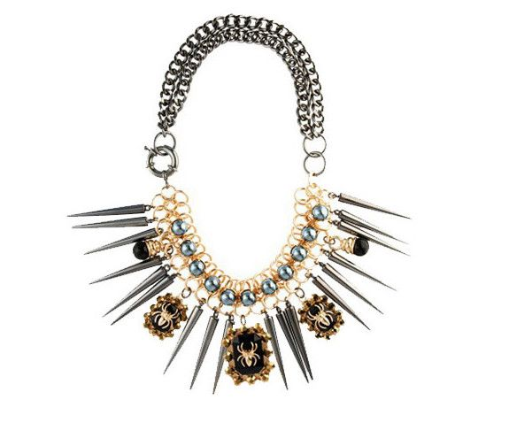 Chromall. Bold Statement Spider Spike Double Chain Bib Necklace
