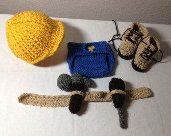Your little man will look adorable in this construction worker outfit! The suspenders are adjustable. All pieces are securely sewn. This set would also make a great photography prop or baby shower gift. Color: Yellow, Denim Blue, and Taupe Material: 100% Acrylic Yarn    Sizes:  Newborn 0-3 Months    All my items are made in a smoke and pet free home.    Care instructions: Hand wash in cold water & lay flat to dry    PLEASE SEE MY SHOP ANNOUNCEMENT FOR CURRENT TURNAROUND TIME    Boutique…