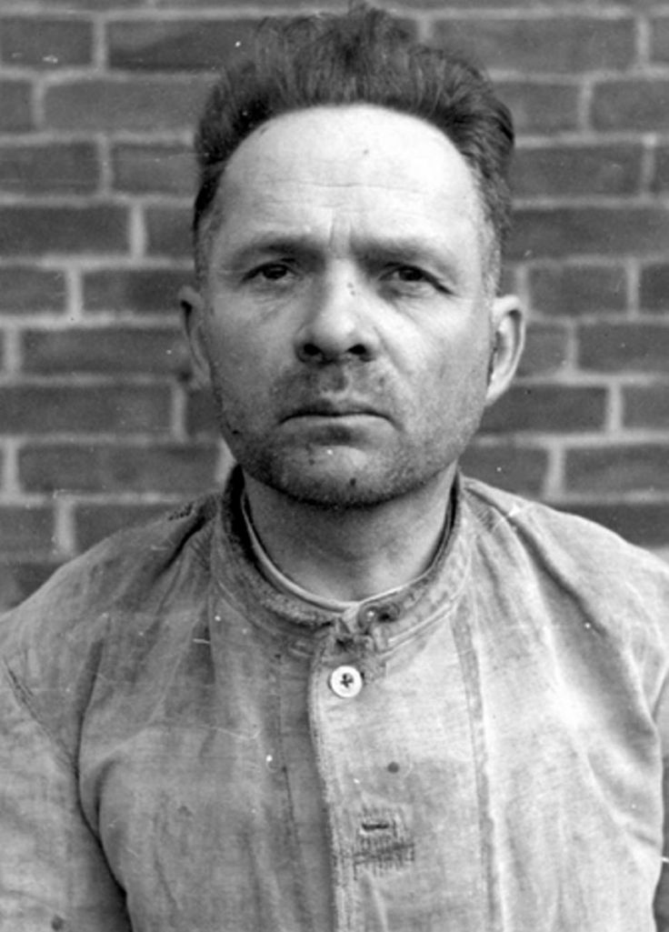 "Former commandant of the Auschwitz concentration camp, Rudolf Franz Ferdinand Höß (1900-1947) during his detention after the war. He was hanged for his many crimes but not before he had time to write a detailed report of his ""career"" as the man in charge of the biggest organized and administered atrocity in modern history."