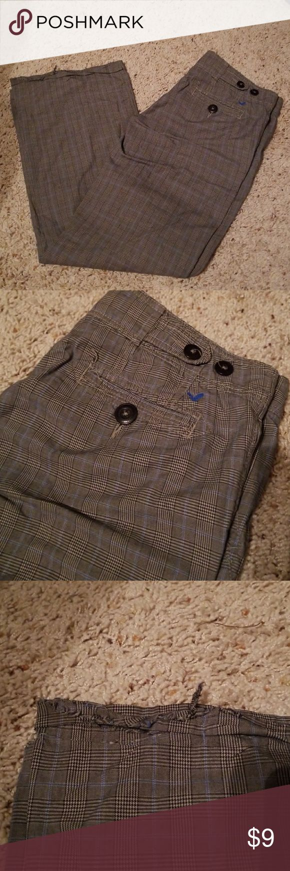 Plaid pants Black and white plaid pants with blue stripe.  Some damage to bottom hem.  Size 4.  100% cotton. American Eagle Outfitters Pants Trousers