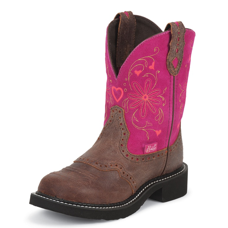 Justin Women's Gypsy Brown & Pink Cowgirl Boots
