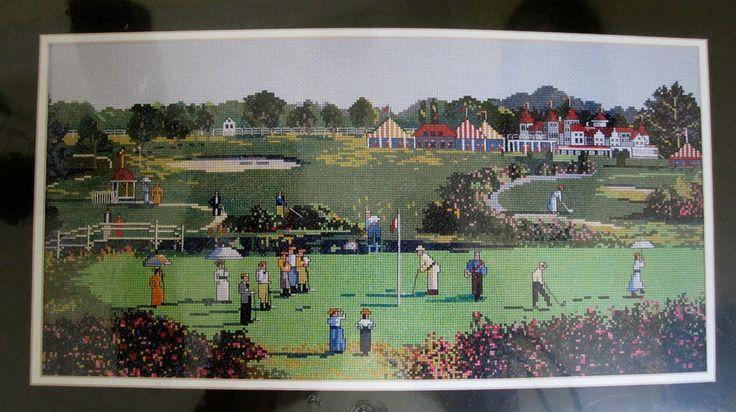 "Hush - Golf Day Counted Cross Stitch Kit 02135 Elsa Williams 20"" x 10"" Sealed #ElsaWilliams #Frame"
