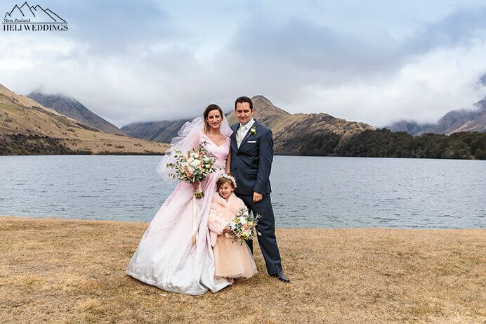 Wedding party at Moke Lake Queenstown