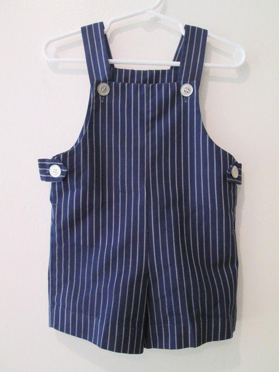 Vtg 60's Navy Blue pin striped Jon Jon Romper by