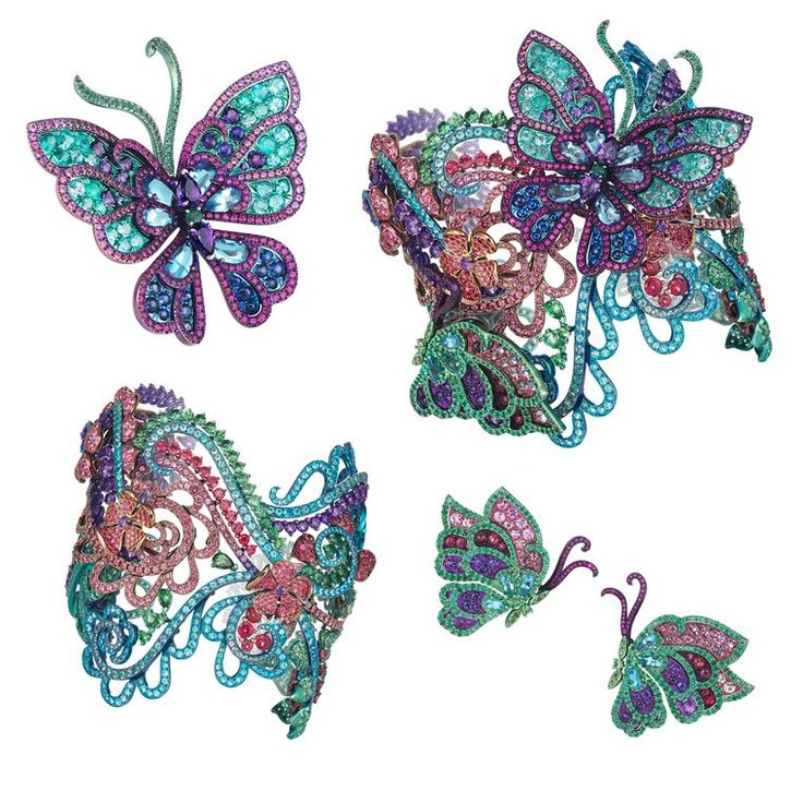 The latest Chopard high jewellery collection - detachable butterflies with topazes, tourmalines and sapphires are the main focus in this Chopard transformable Haute Joaillerie bracelet.