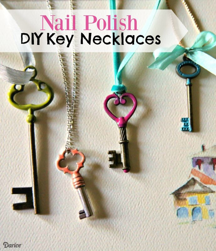 Make+Painted+Key+Necklaces+with+Nail+Polish