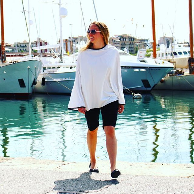A classic in the making: The new Kekahi sun protective poncho, shown here in Barcelona.