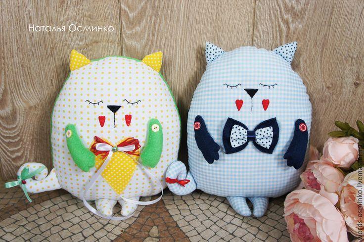 Купить Кот-сплюшка (в наличии)/ подушка кот/ подушка-игрушка - голубой, кот-сплюшка
