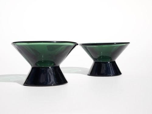 Iittala Pair Kaj Franck Dark Green Candle Holders Art Glass Mid Century Vintage | eBay