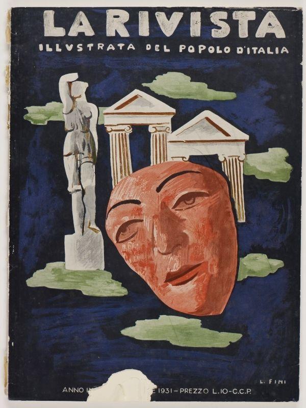 La Rivista, anno IX, n. 10 (Ottobre, 1931), front cover: [Illustration of classical statue, friezes and a mask, signed] L. Fini