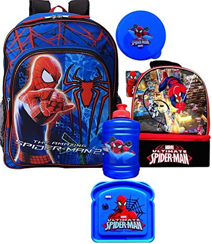 Spiderman Backpack with Spiderman Lunch Box 2 Compartment Gift Set Includes Spiderman Water Jug and  @ niftywarehouse.com #NiftyWarehouse #Spiderman #Marvel #ComicBooks #TheAvengers #Avengers #Comics