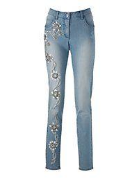 Madeleine Mode jeans bleached blue floral print white licht blauwe spijkerbroek bloemen print wit