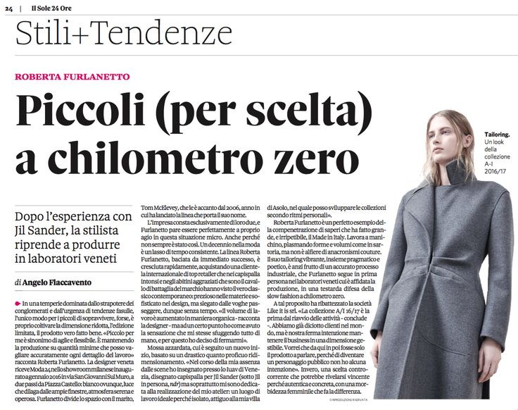 Roberta Furlanetto in conversation with Angelo Flaccavento in Il Sole 24 Ore.