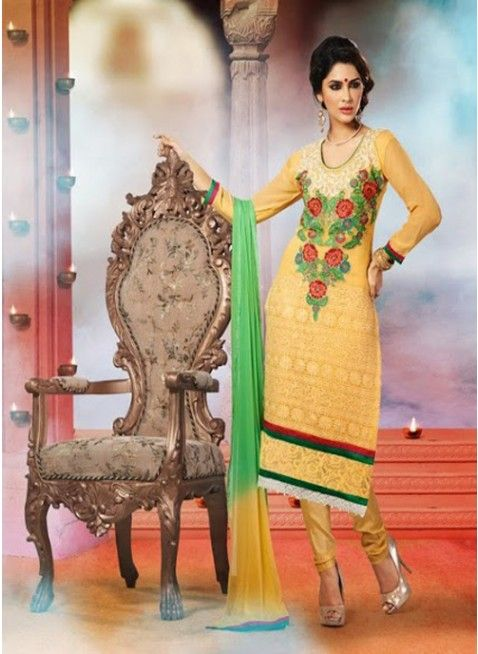 Pleasant Yellow georgette based #pakistani_suit with thread work