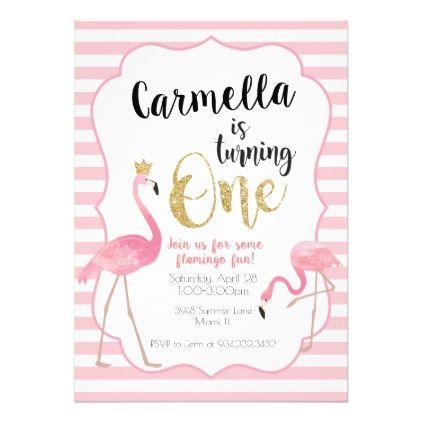 Flamingo First Birthday Invitation - birthday gifts party celebration custom gift ideas diy