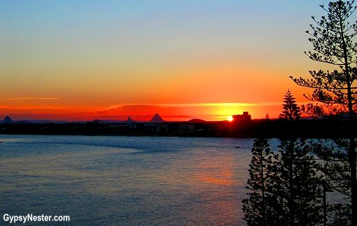 Sunset over the Glasshouse Mountains from Caloundra, Queensland, Australia