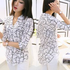 Ladies Chiffon Button Down Office Work Evening Casual Blouse Shirt