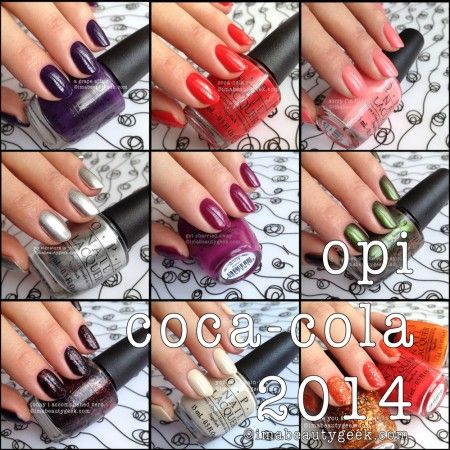 """OPI @ Coca-Cola Limited Edition 2014 Collection: Color Swatches Top left to right (a grape affair,coca- cola red,Sorry I'm Fizzy Today) Middle left to right (My Signature is """"DC"""",Get Cherried Away,Green on the Runway) Bottom left to right (Today I Accomplished Zero,You're So Vain-illa,Orange You Fantastic)"""