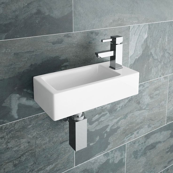 Rondo Wall Hung Small Cloakroom Basin R/H 1TH - 365 x 185mm Large Image