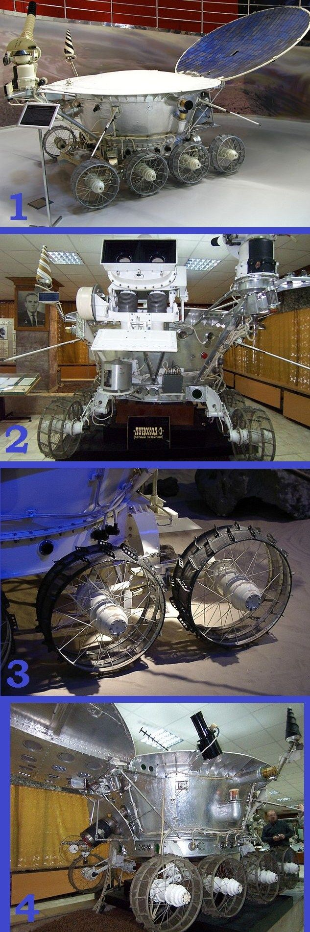 1. Lunokhod was a series of Russian robotic lunar rovers in 1969 – 1973. 2. Front view. 3. Detail of Lunokhod's wheels. 4. Side view. #Russia #space