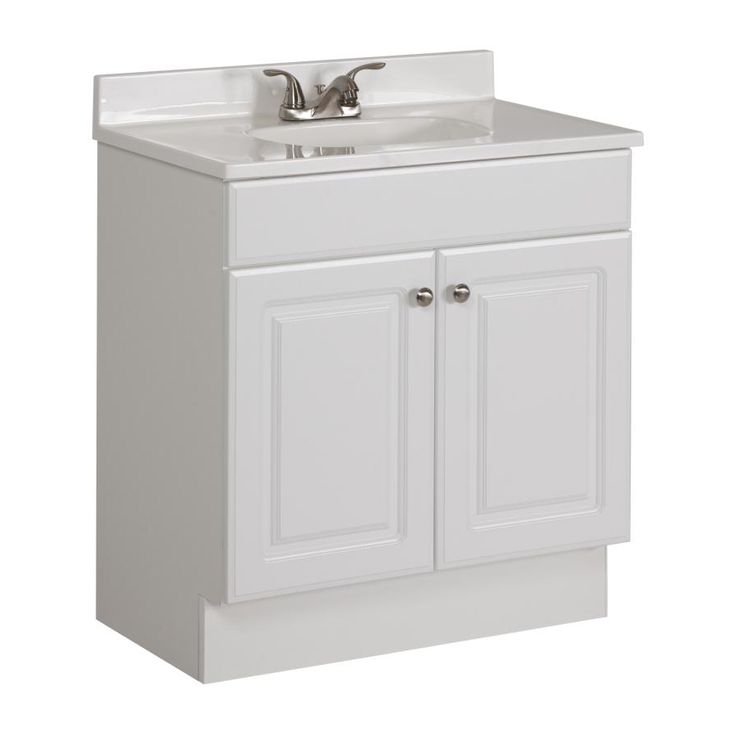 Project Source White 30.5-in Integral Single Sink Bathroom Vanity with Cultured Marble Top