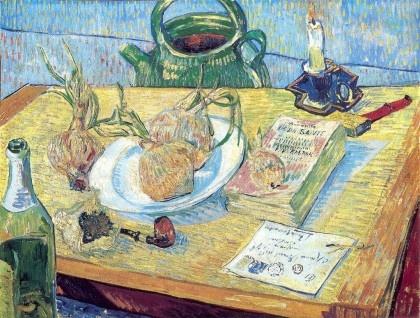 Vincent van Gogh, Stilleben mit Zeichenbrett, Pfeife, Zwiebeln und Siegellack, 1889. Öl auf Leinwand © Kröller-Müller Museum, Otterlo, The Netherlands
