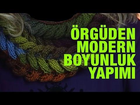 Örgüden Modern Boyunluk Yapımı Adım Adım Detaylı Anlatım - (sadece ters düz örerek) - Örgü Modelleri - YouTube