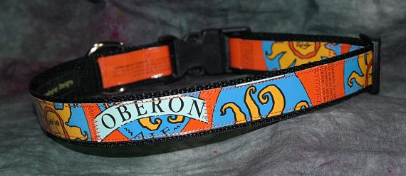 Adjustable Dog Collar from recycled Bell's Brewery Oberon beer labels