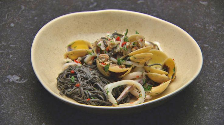 Squid Ink Spaghetti with Vongole and Cuttlefish