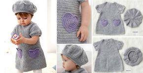 Beehive Virka baby klänning och hatt (Gratis mönster)