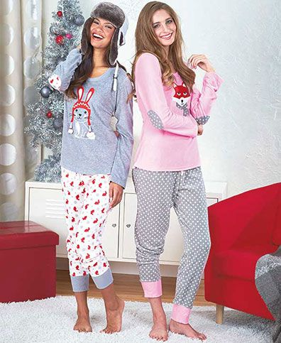 This Women's Cuddly Critter Loungewear Set looks cute and feels cozy. Its scoop neck features an embroidered applique of an adorable animal. Its long sleeves have stitched elbow patches matching the print of the pants. The pants have an elastic waistband