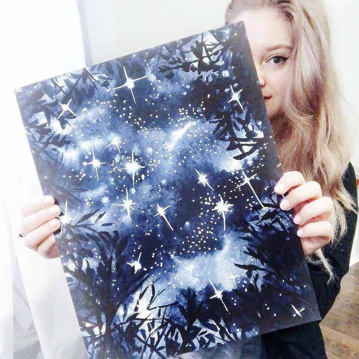 how lovely is this large 11x14 print of my starry forest @inktober piece?! ive never done large format prints before but i love how this one turned out. now to find a frame . . ! (im thinking thin & gold)  #illustration #watercolor #inkandwatercolor #painting #art #pen #ink