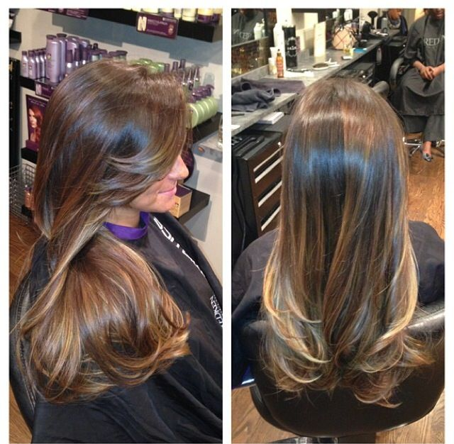 balayage highlights , dark brown to light brown and honey