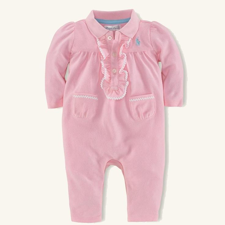 Ralph Lauren Layette Baby Solid Mesh Coverall Onesie
