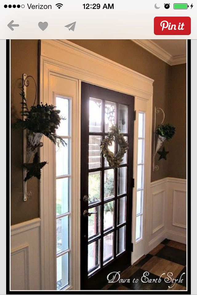 Crown molding idea for the patio door to the backyard or behind the front door