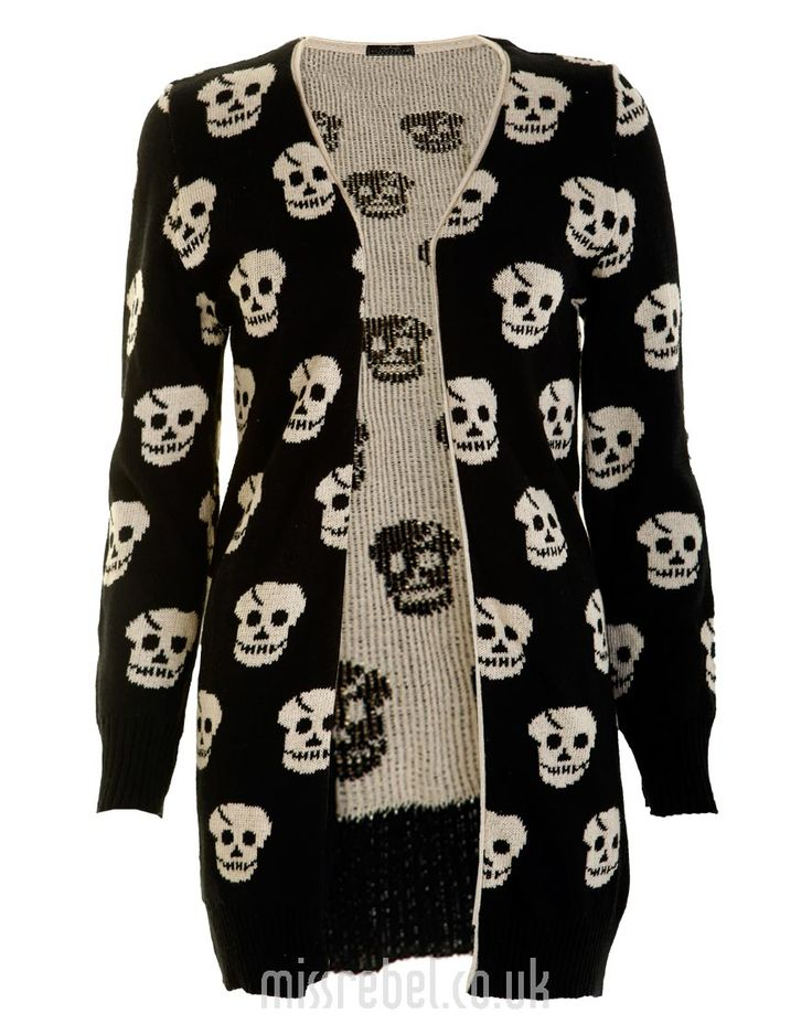 Allover Skulls Knitted Cardigan - Womens Clothing Sale, Womens Fashion, Cheap Clothes Online | Miss Rebel
