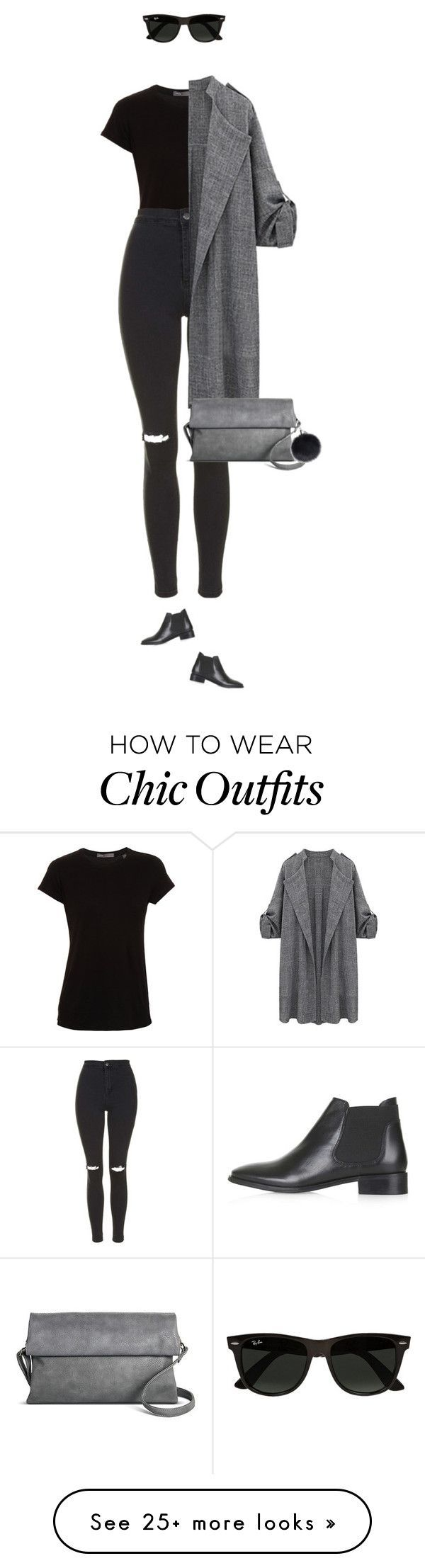 Everyday chic look ! by azzra on Polyvore featuring Vince, Topshop, Street Level, Ray-Ban, womens clothing, women, female, woman, misses and juniors