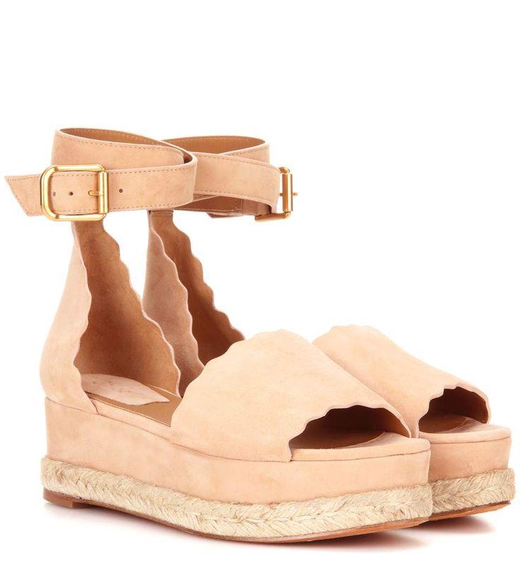 Lauren light pink platform suede sandals